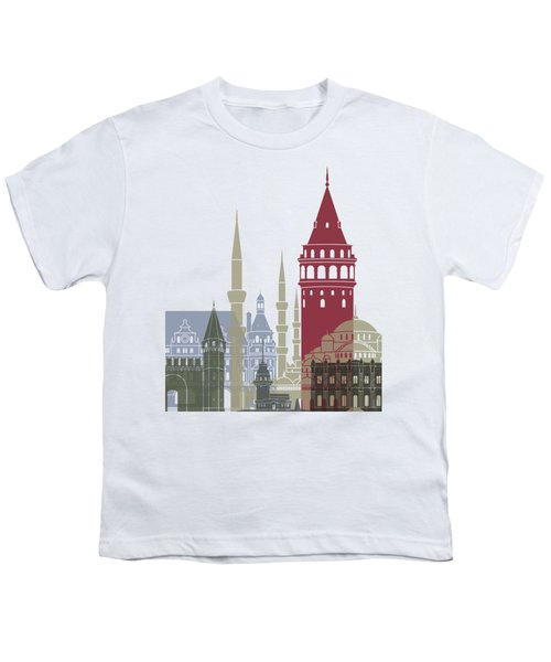 Istanbul Skyline Poster Youth T-Shirt by Pablo Romero