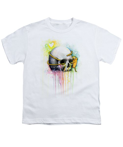 Jake The Dog Hugging Skull Adventure Time Art Youth T-Shirt