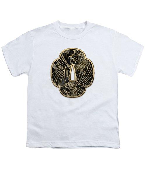 Japanese Katana Tsuba - Golden Twin Koi On Black Steel Over White Leather Youth T-Shirt