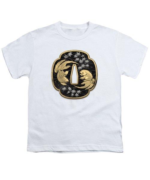 Japanese Katana Tsuba - Twin Gold Fish On Black Steel Over White Leather Youth T-Shirt