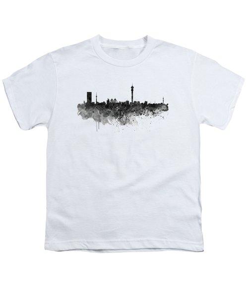 Johannesburg Black And White Skyline Youth T-Shirt