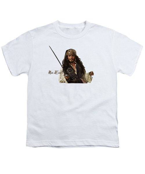 Johnny Depp, Pirates Of The Caribbean Youth T-Shirt by Maria Astedt