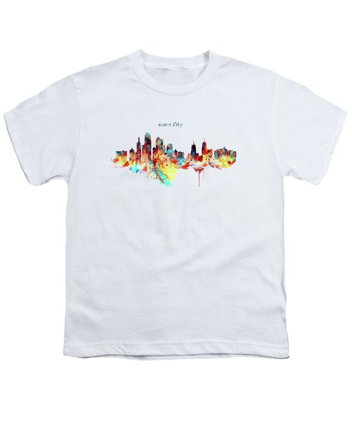 Kansas City Skyline Silhouette Youth T-Shirt