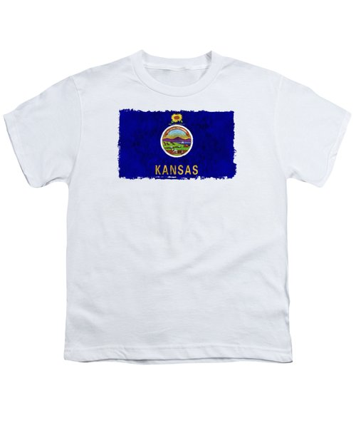 Kansas Flag Youth T-Shirt by World Art Prints And Designs