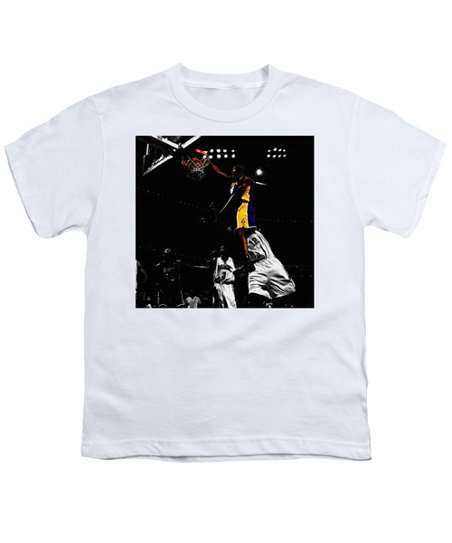 Kobe Bryant On Top Of Dwight Howard Youth T-Shirt by Brian Reaves