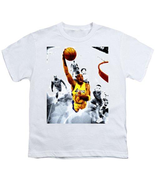 Kobe Bryant Took Flight Youth T-Shirt by Brian Reaves