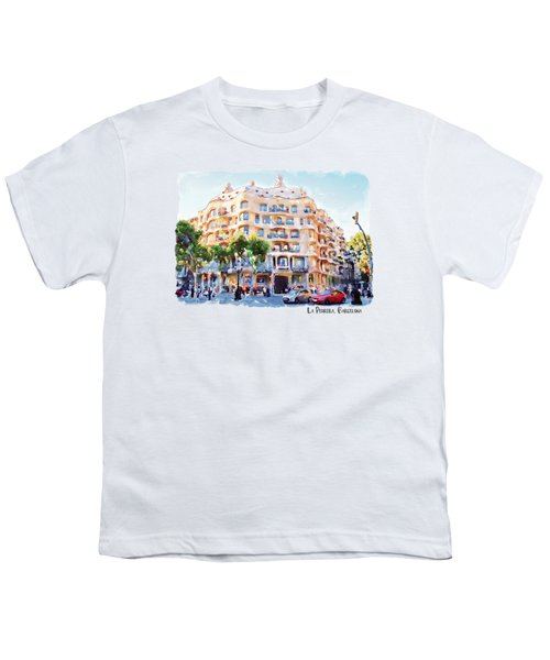 La Pedrera Barcelona Youth T-Shirt by Marian Voicu
