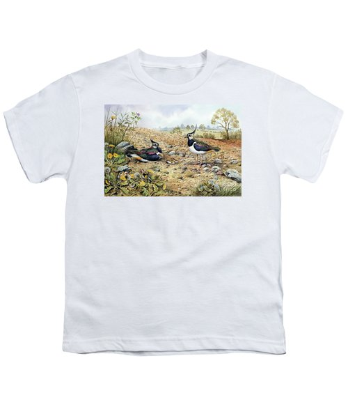 Lapwing Family With Goldfinches Youth T-Shirt by Carl Donner