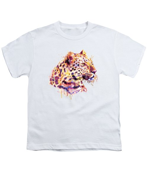 Leopard Head Youth T-Shirt by Marian Voicu