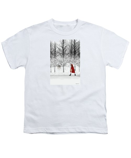 Youth T-Shirt featuring the digital art Little Red by Nancy Levan