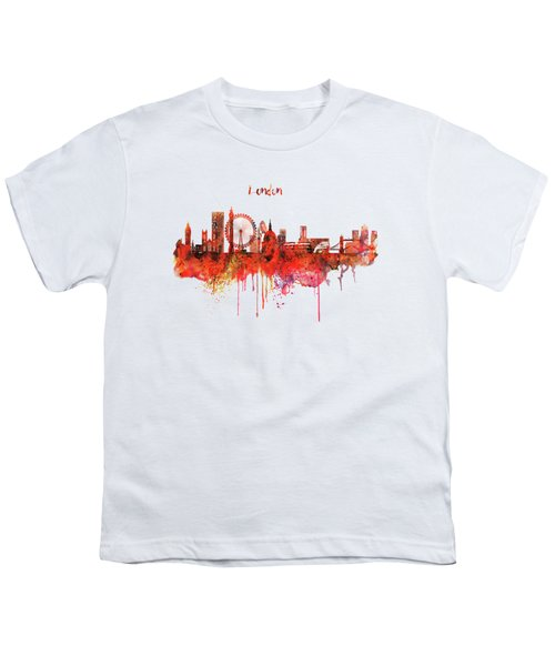 London Skyline Watercolor Youth T-Shirt by Marian Voicu