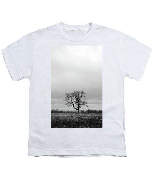 Lonely Tree In A Spring Field Youth T-Shirt by GoodMood Art