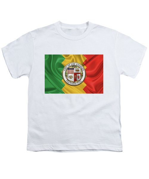 Los Angeles City Seal Over Flag Of L.a. Youth T-Shirt by Serge Averbukh