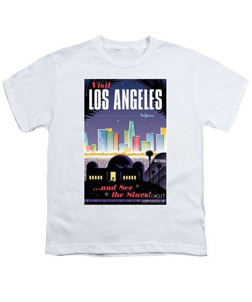 Los Angeles Retro Travel Poster Youth T-Shirt