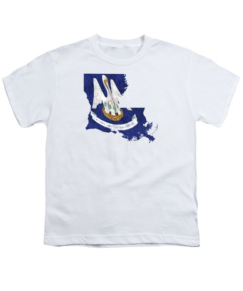 Louisiana Map Art With Flag Design Youth T-Shirt