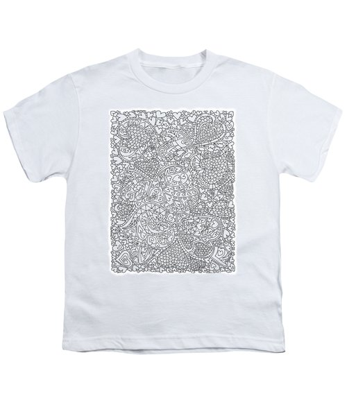 Love And Chrysanthemum Filled Hearts Vertical Youth T-Shirt by Tamara Kulish