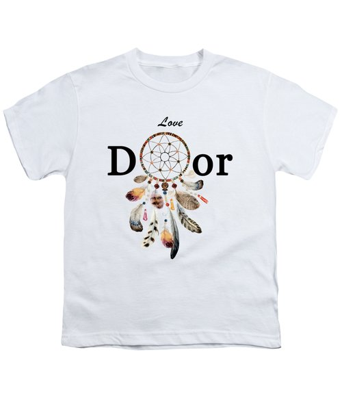 Youth T-Shirt featuring the painting Love Dior Watercolour Dreamcatcher by Georgeta Blanaru