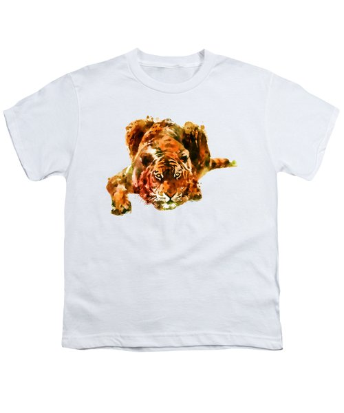 Lurking Tiger Youth T-Shirt by Marian Voicu