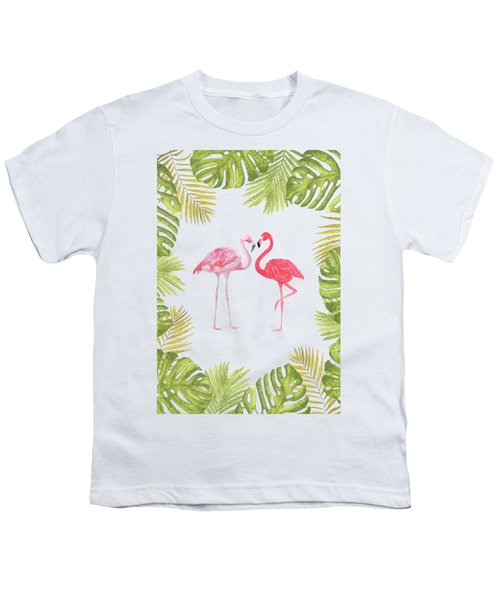 Magical Tropicana Love Flamingos And Leaves Youth T-Shirt