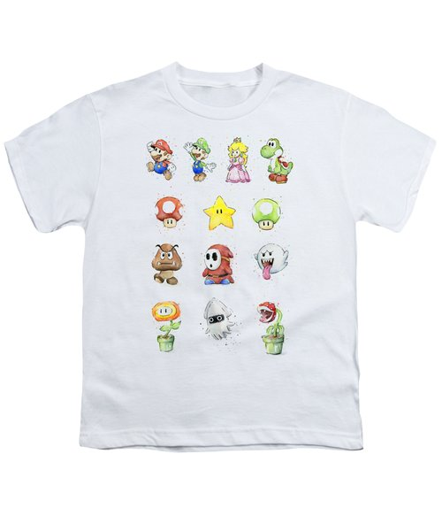 Mario Characters In Watercolor Youth T-Shirt by Olga Shvartsur