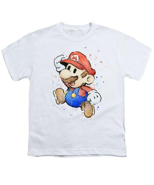 Mario Watercolor Fan Art Youth T-Shirt by Olga Shvartsur