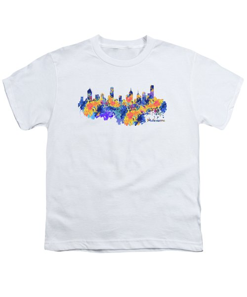Melbourne Watercolor Skyline Youth T-Shirt