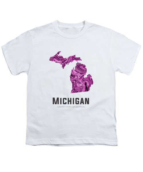 Michigan Map Art Abstract In Purple Youth T-Shirt