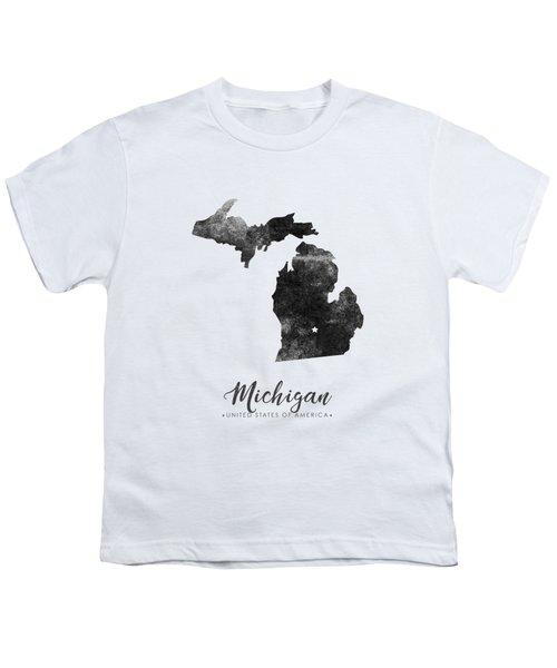 Michigan State Map Art - Grunge Silhouette Youth T-Shirt
