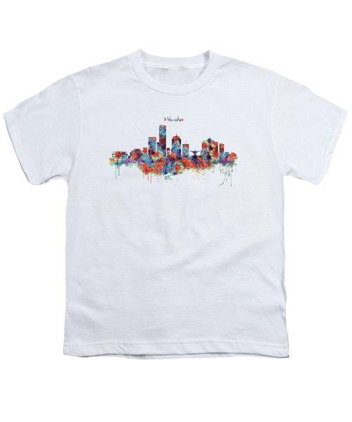Milwaukee Watercolor Skyline Youth T-Shirt