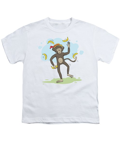 Monkey Juggling Bananas Youth T-Shirt by Elena Chepel