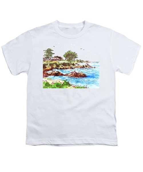 Youth T-Shirt featuring the painting Monterey Shore by Irina Sztukowski
