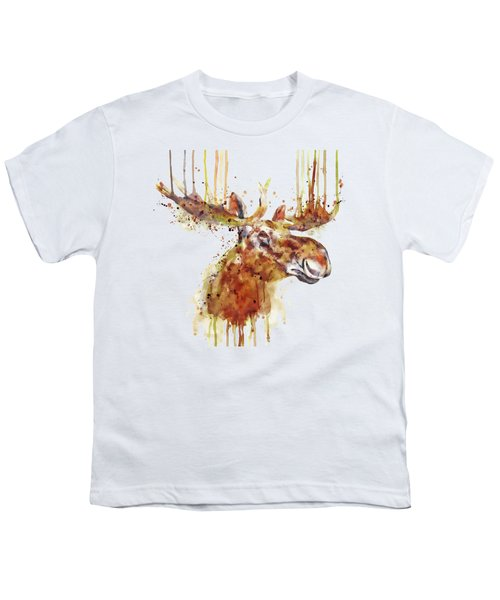 Moose Head Youth T-Shirt by Marian Voicu