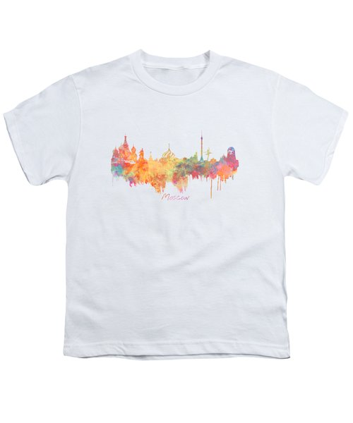 Moscow Russia Skyline City Youth T-Shirt by Justyna JBJart
