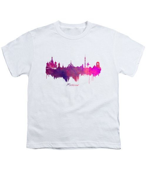 Moscow Russia Skyline Purple Youth T-Shirt by Justyna JBJart