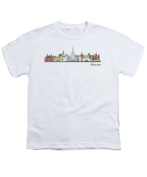 Moscow Skyline Colored Youth T-Shirt by Pablo Romero