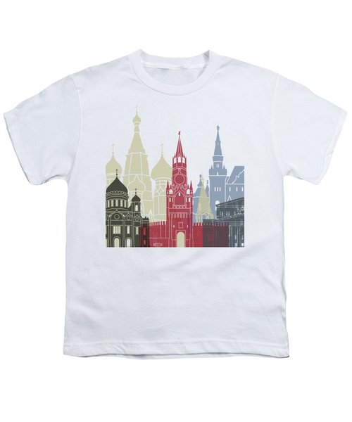Moscow Skyline Poster Youth T-Shirt by Pablo Romero