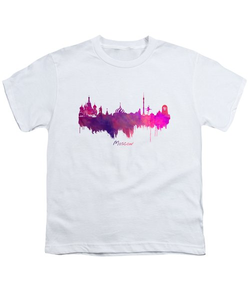 Moscow Skyline Purple Youth T-Shirt by Justyna JBJart
