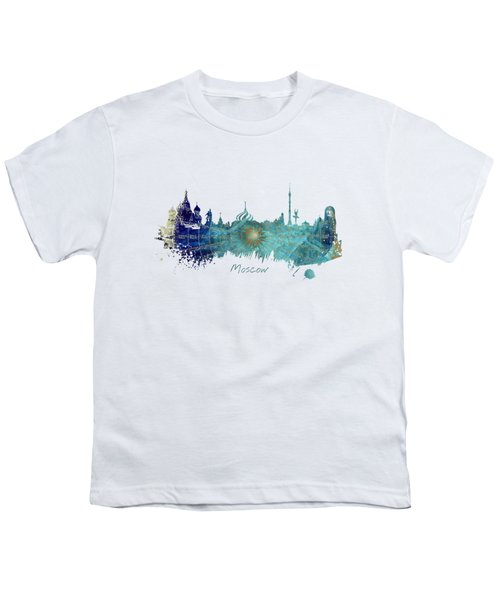 Moscow Skyline Wind Rose Youth T-Shirt by Justyna JBJart