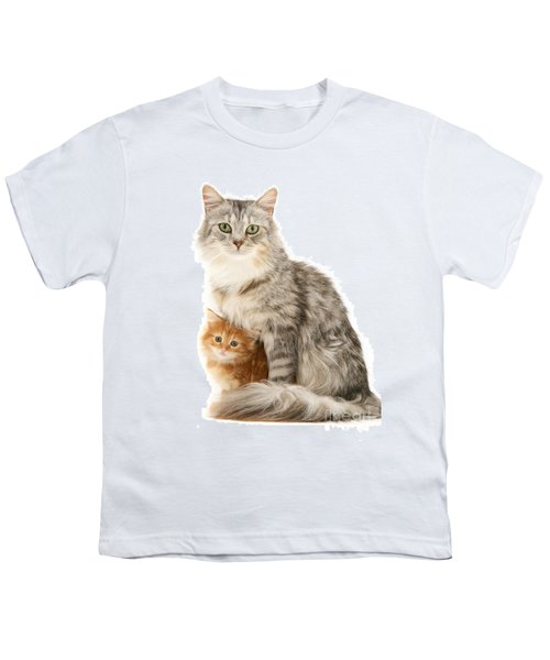 Mother Cat And Ginger Kitten Youth T-Shirt