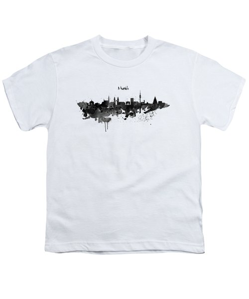 Munich Black And White Skyline Silhouette Youth T-Shirt by Marian Voicu