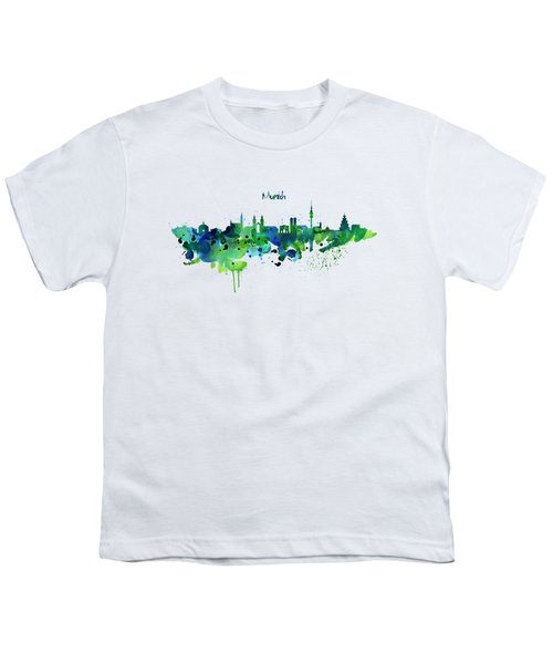 Munich Skyline Silhouette Youth T-Shirt by Marian Voicu
