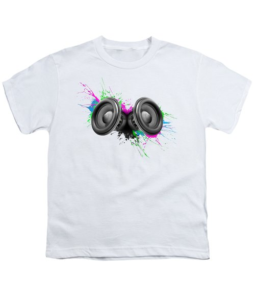 Music Speakers Colorful Design Youth T-Shirt by Johan Swanepoel
