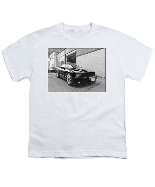 Mustang Alley In Black And White Youth T-Shirt