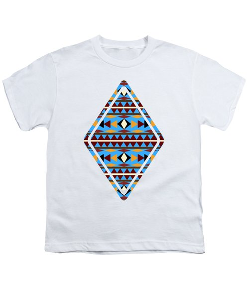 Navajo Blue Pattern Art Youth T-Shirt by Christina Rollo
