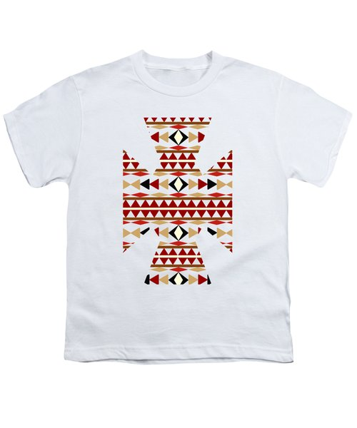Navajo White Pattern Art Youth T-Shirt by Christina Rollo