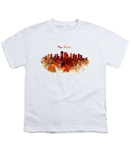 New Orleans Watercolor Skyline Youth T-Shirt