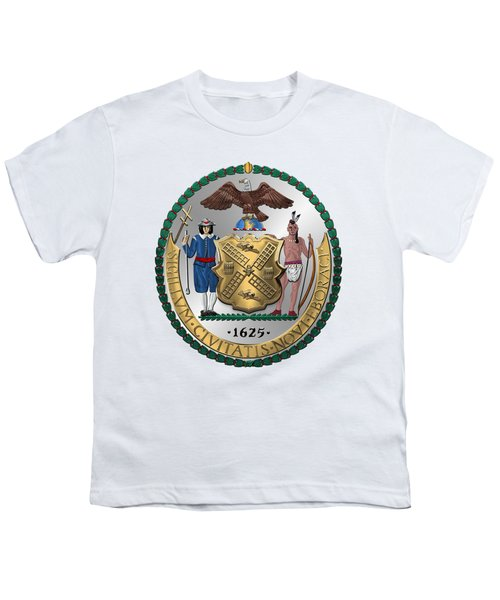 New York City Coat Of Arms - City Of New York Seal Over White Leather  Youth T-Shirt