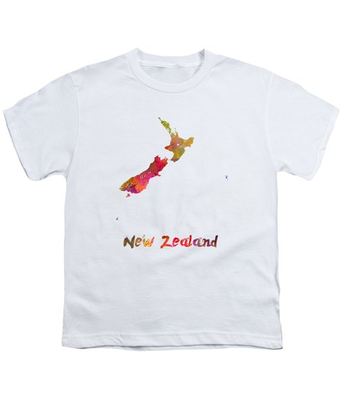 New Zealand In Watercolor Youth T-Shirt by Pablo Romero