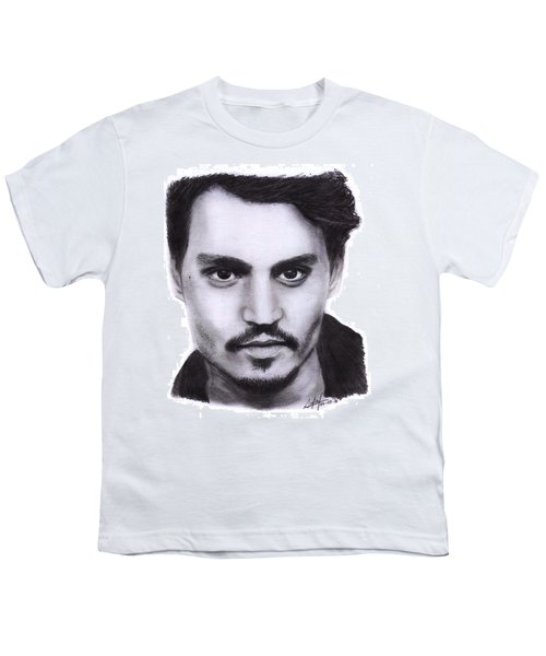 Johnny Depp Drawing By Sofia Furniel Youth T-Shirt by Sofia Furniel