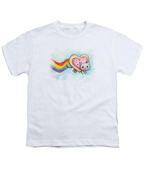 Nyan Cat Valentine Heart Youth T-Shirt by Olga Shvartsur